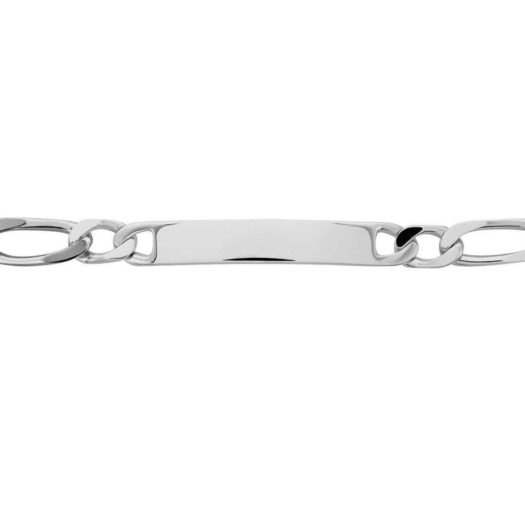 Bracelet Identité Anilo Maille Alternee 1/1 Argent Blanc - Gourmettes Homme | Histoire d'Or