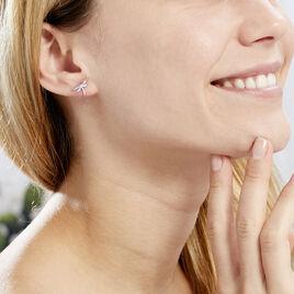 Boucles D'oreilles Puces Anne-louise Argent Blanc - Boucles d'oreilles fantaisie Femme   Histoire d'Or