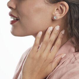 Boucles D'oreilles Puces Argent Rhodié Haile Oxydes De Zirconium - Boucles d'Oreilles Lune Femme   Histoire d'Or