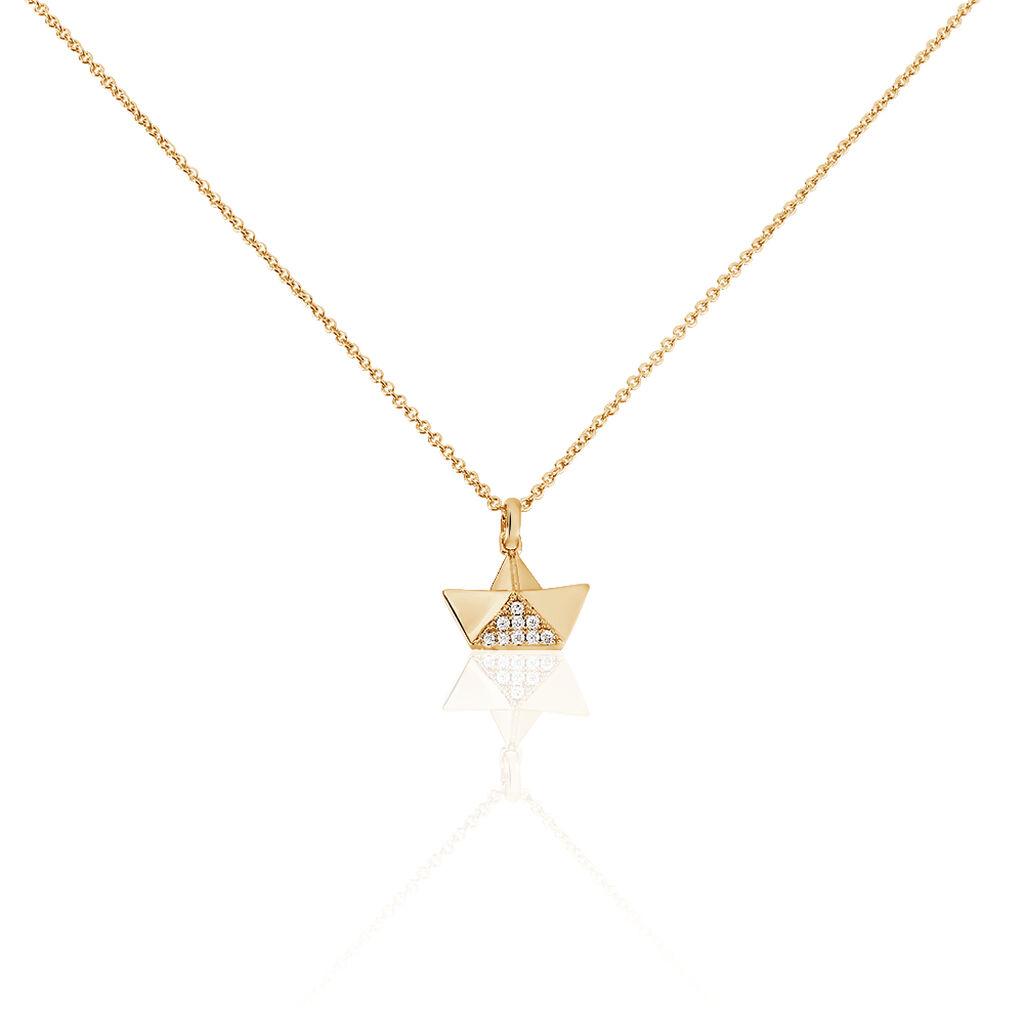 Collier Plaque Or Jaune Oxyde De Zirconium - Colliers fantaisie Femme | Histoire d'Or