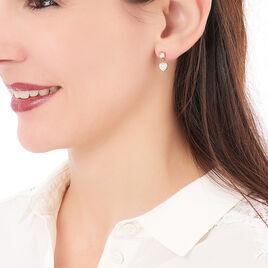 Boucles D'oreilles Pendantes Faria Plaque Or Jaune Oxyde De Zirconium - Boucles d'Oreilles Coeur Femme   Histoire d'Or