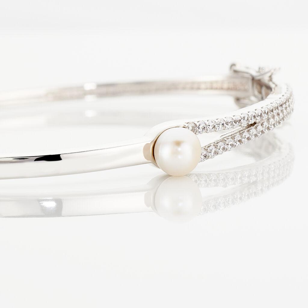 Bracelet Jonc Argent Blanc Perle De Culture Et Oxyde De Zirconium - Bracelets joncs Femme | Histoire d'Or