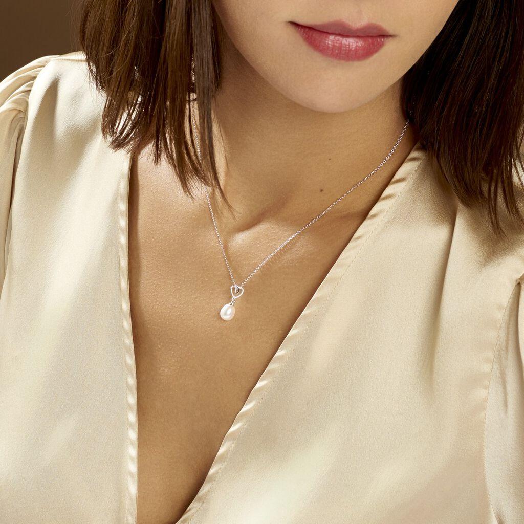 Collier Miley Argent Blanc Perle De Culture - Colliers Coeur Femme | Histoire d'Or