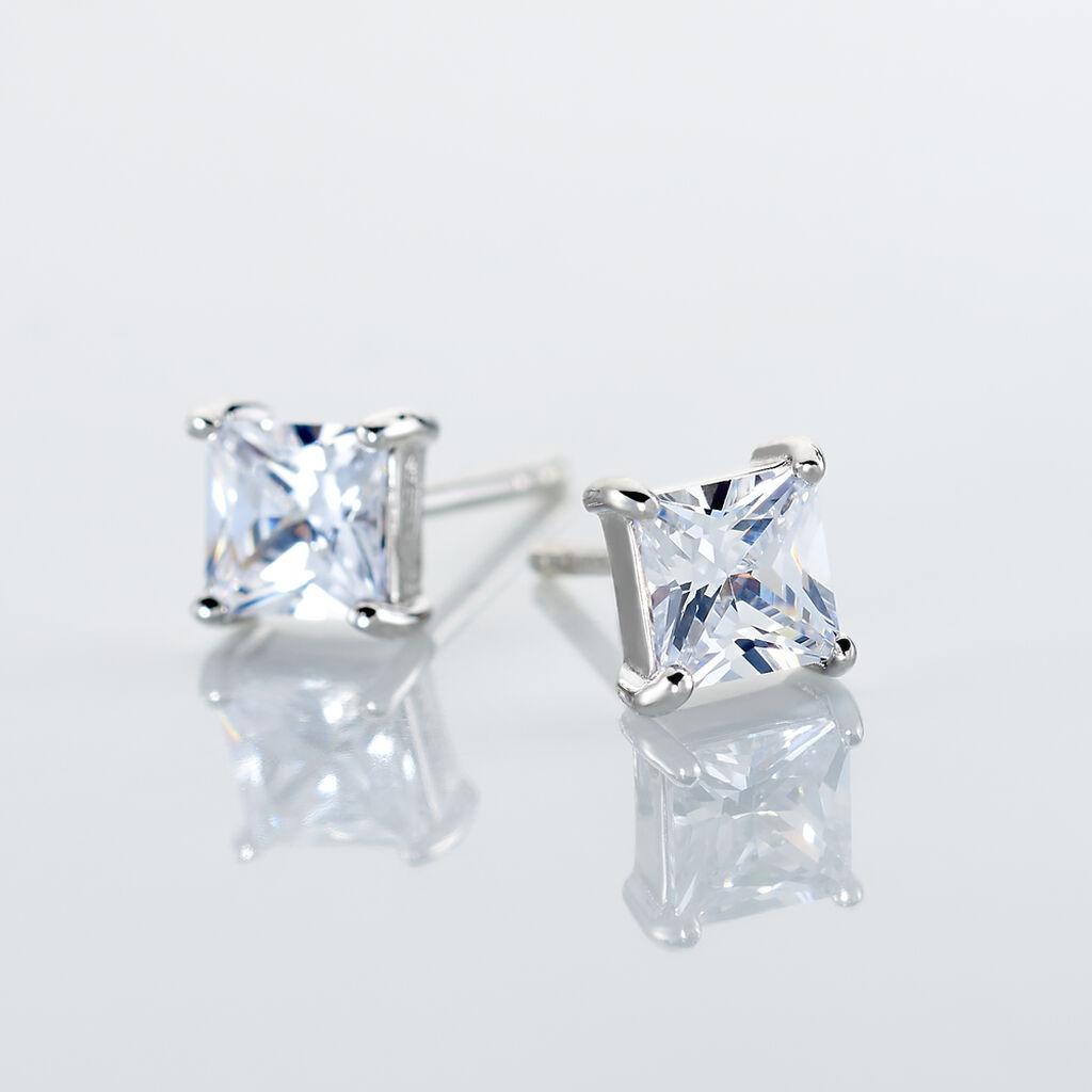 Boucles D'oreilles Puces Alys Argent Blanc Oxyde De Zirconium - Boucles d'oreilles fantaisie Femme | Histoire d'Or
