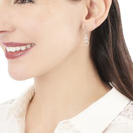 Boucles D'oreilles Pendantes Love Love Argent Blanc - Boucles d'Oreilles Coeur Femme | Histoire d'Or