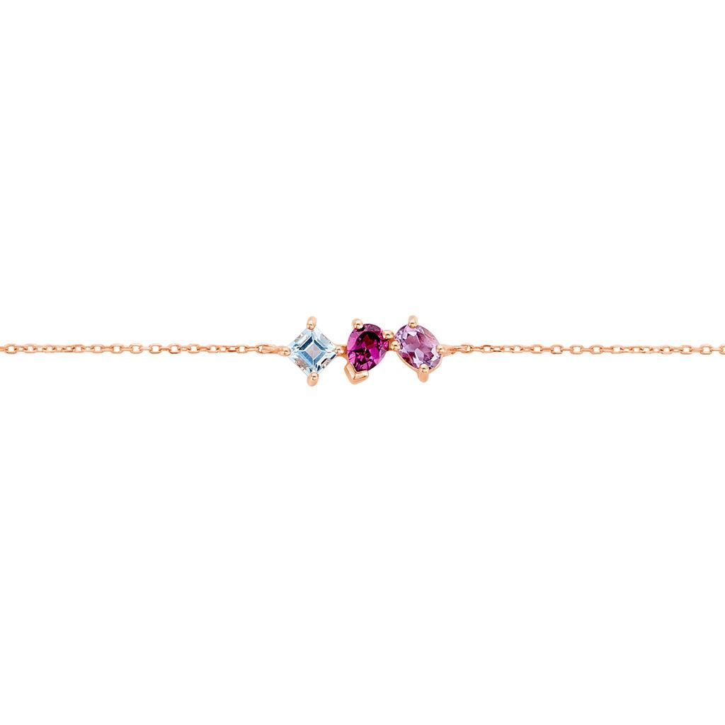 Bracelet Raika Or Rose Amethyste Et Rhodolite Et Topaze - Bijoux Femme   Histoire d'Or