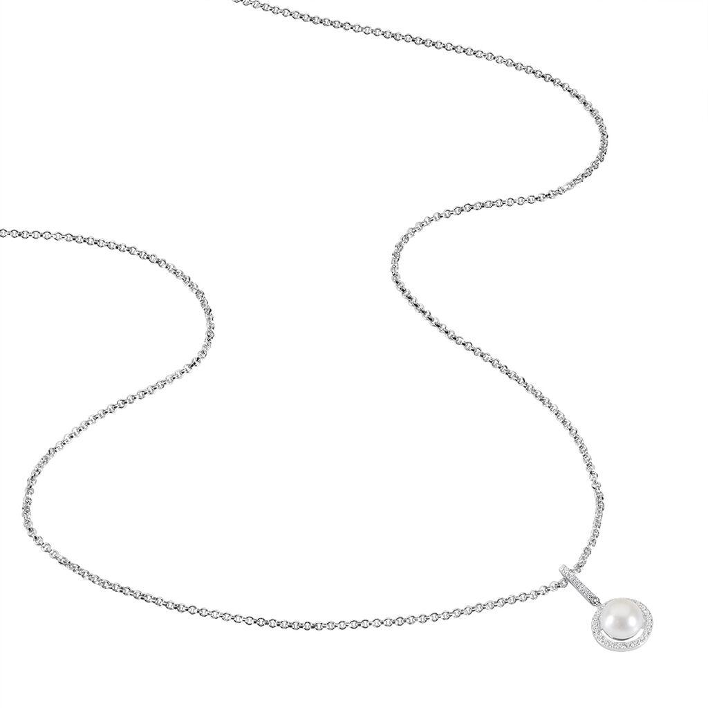 Collier Mathie Argent Blanc Perle De Culture Et Oxyde De Zirconium - Bijoux Femme | Histoire d'Or