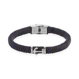 Bracelet Acier Cordon Bleu Ancre - Bijoux Ancre Homme | Histoire d'Or