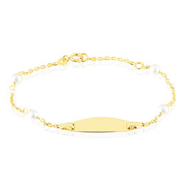 Bracelet Identité Gaspardine Maille Forçat Or Jaune Perle De Culture - Bracelets Communion Enfant | Histoire d'Or