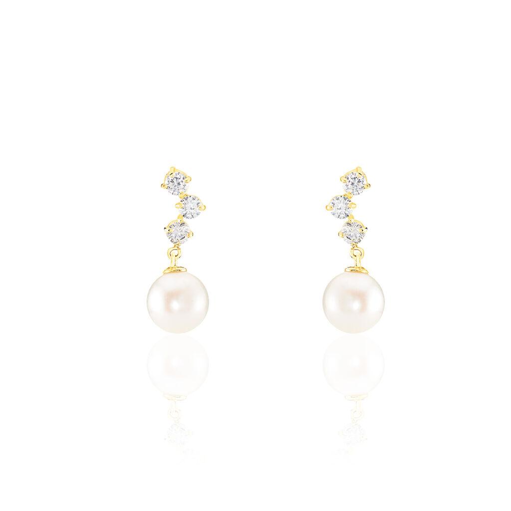 Boucles D'oreilles Pendantes Taiss Or Jaune Perle De Culture - Boucles d'oreilles pendantes Femme   Histoire d'Or
