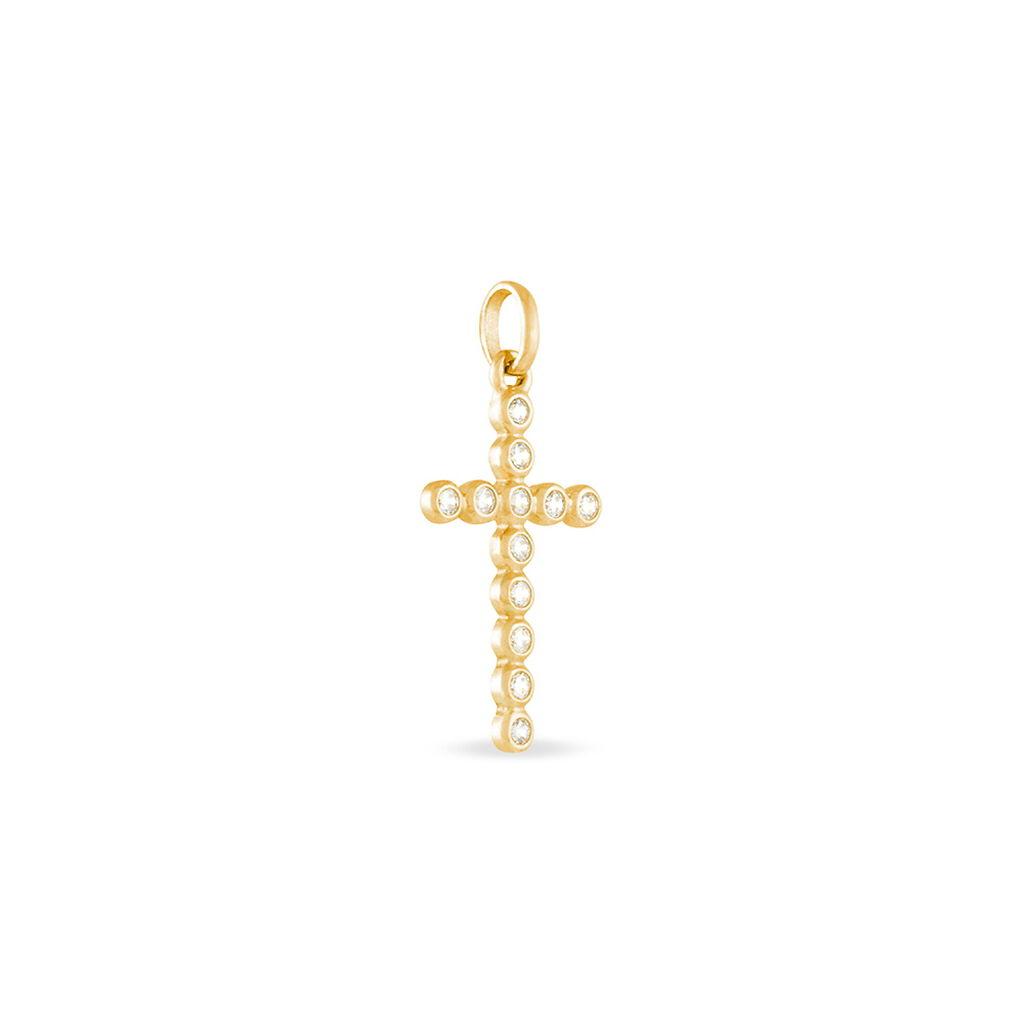Pendentif Canice Croix Or Jaune Oxyde De Zirconium - Pendentifs Croix Femme   Histoire d'Or