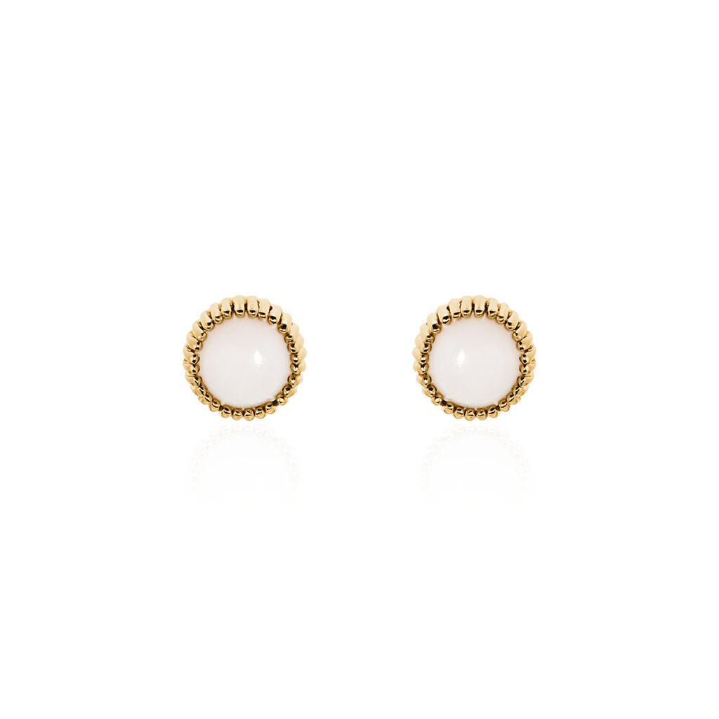 Boucles D'oreilles Pendantes Caterie Plaque Or Jaune Turquoise - Boucles d'oreilles fantaisie Femme | Histoire d'Or
