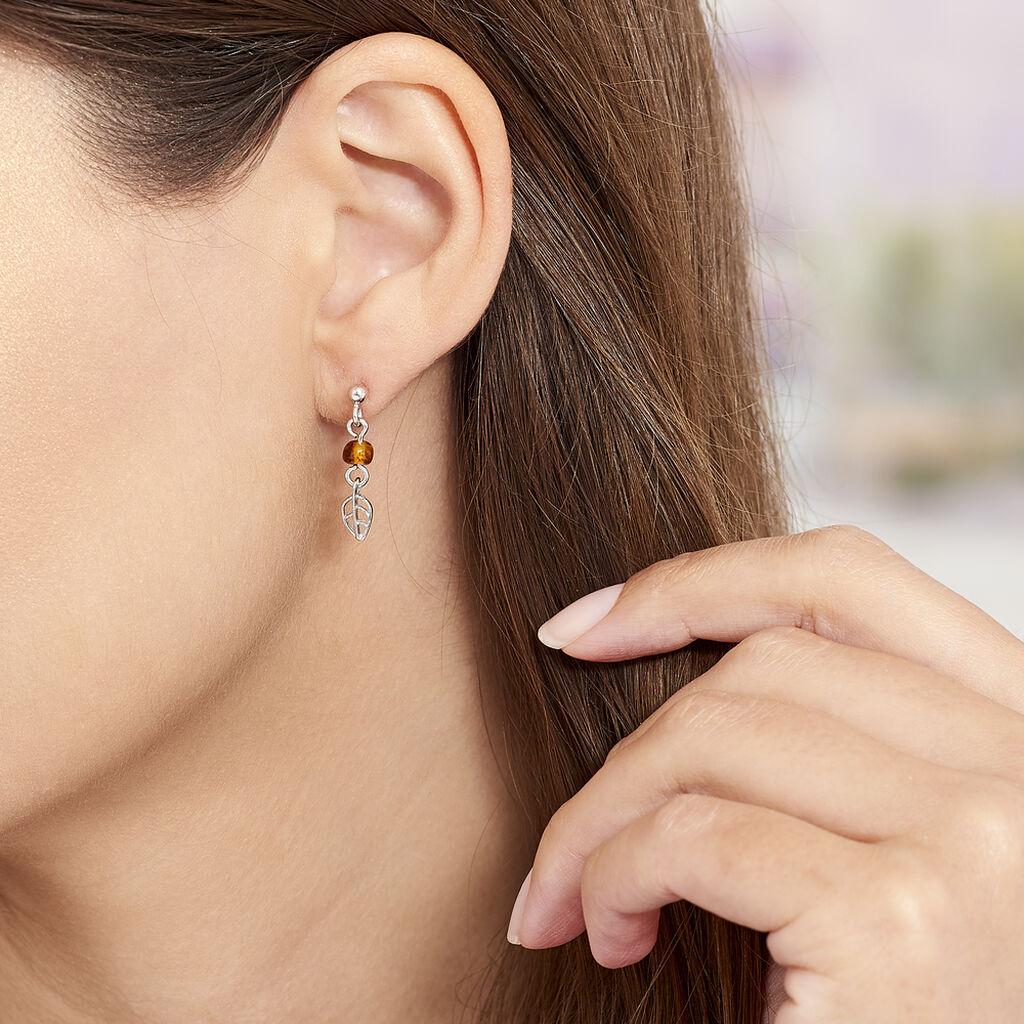 Boucles D'oreilles Pendantes Nolana Argent Blanc Ambre - Boucles d'Oreilles Plume Femme | Histoire d'Or
