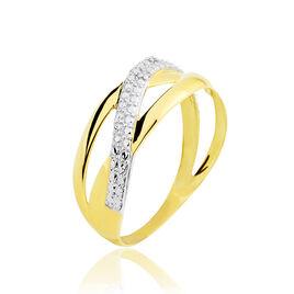 Bague Nuccia Or Bicolore Diamant - Bagues avec pierre Femme   Histoire d'Or