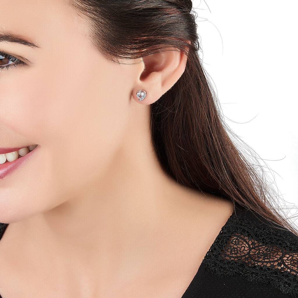 Boucles D'oreilles Puces Coeur In Love Or Blanc Topaze Et Oxyde - Boucles d'Oreilles Coeur Femme | Histoire d'Or