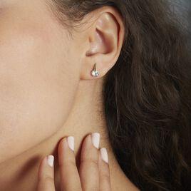 Boucles D'oreilles Puces Or Jaune Bleuet Topazes - Clous d'oreilles Femme   Histoire d'Or