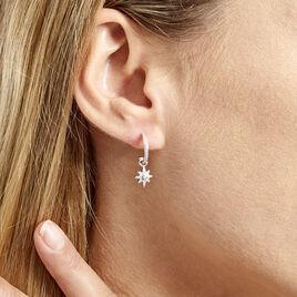Créoles Ancelin Rondes Argent Blanc Oxyde De Zirconium - Boucles d'oreilles créoles Femme | Histoire d'Or