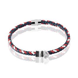 Bracelet Acier Tresse Synthetique Rouge - Bracelets fantaisie Homme   Histoire d'Or