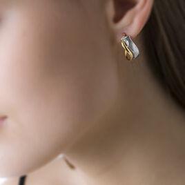 Créoles Ayliz Ovales Fil Vrille Or Bicolore - Boucles d'oreilles créoles Femme | Histoire d'Or