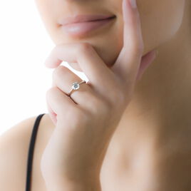 Bague Solitaire Abriel Or Blanc Oxyde De Zirconium - Bagues solitaires Femme   Histoire d'Or