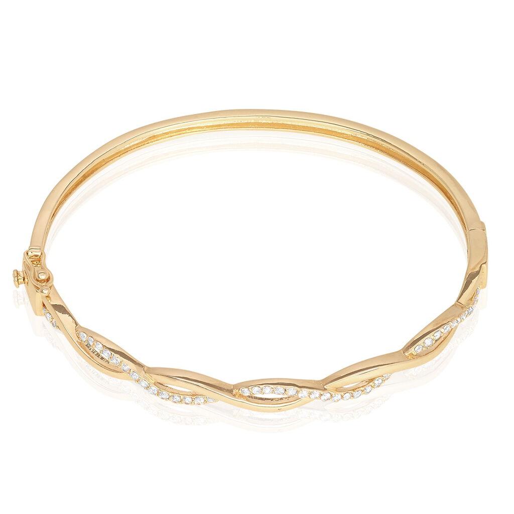 Bracelet Jonc Imae Plaque Or Jaune Oxyde De Zirconium - Bracelets joncs Femme   Histoire d'Or