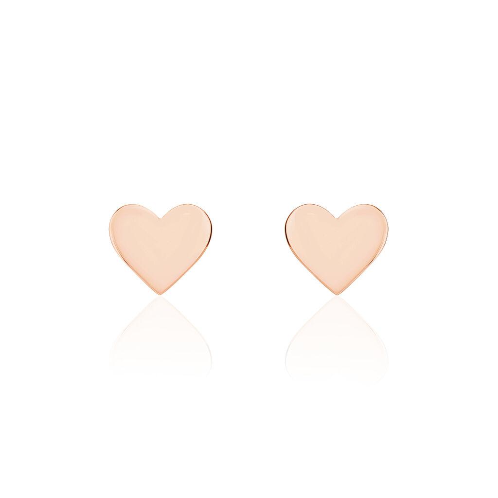 Boucles D'oreilles Puces Angy Argent Rose - Boucles d'Oreilles Coeur Femme | Histoire d'Or