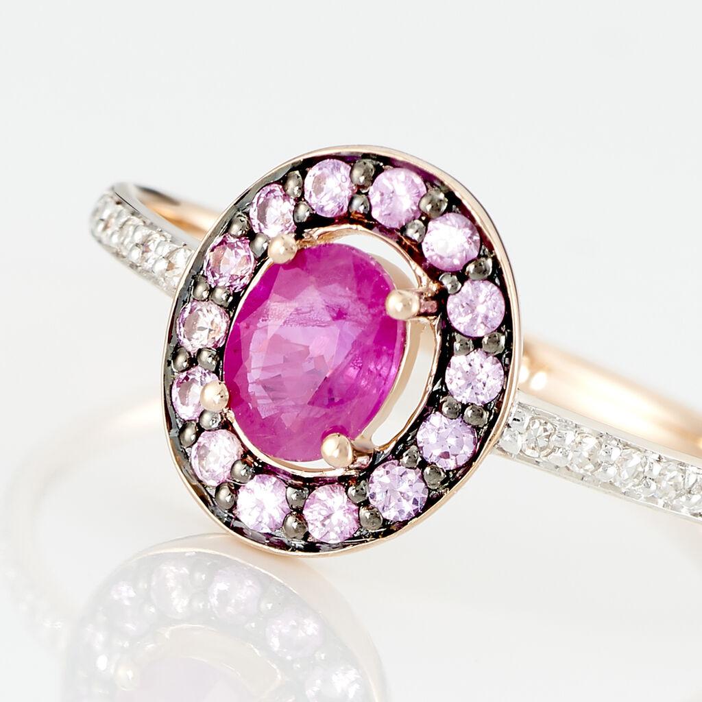 Bague Leona Or Rose Rubis Et Saphir Et Diamant - Bagues avec pierre Femme   Histoire d'Or