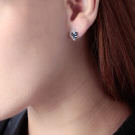 Boucles D'oreilles Puces Angie Or Blanc Saphir Et Diamant - Clous d'oreilles Femme   Histoire d'Or