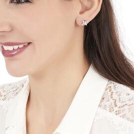 Boucles D'oreilles Puces Elsmeralda Or Blanc Oxyde De Zirconium - Clous d'oreilles Femme | Histoire d'Or