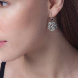 Boucles D'oreilles Pendantes Jardin D'ete Argent Blanc - Boucles d'oreilles fantaisie Femme   Histoire d'Or