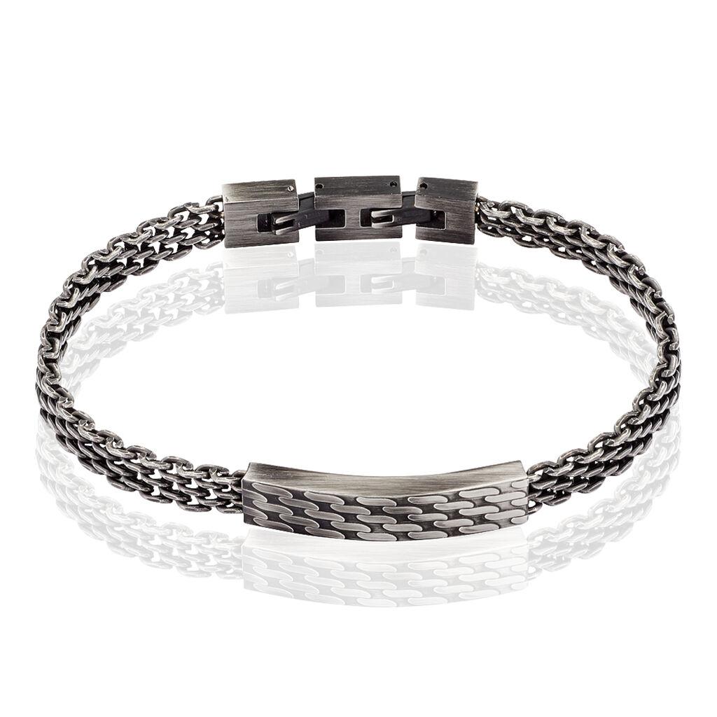 Bracelet Azna Maille Grain De Riz Acier Gris - Bracelets fantaisie Homme | Histoire d'Or