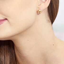 Boucles D'oreilles Puces Marcelina Plaque Or Jaune - Boucles d'oreilles fantaisie Femme   Histoire d'Or