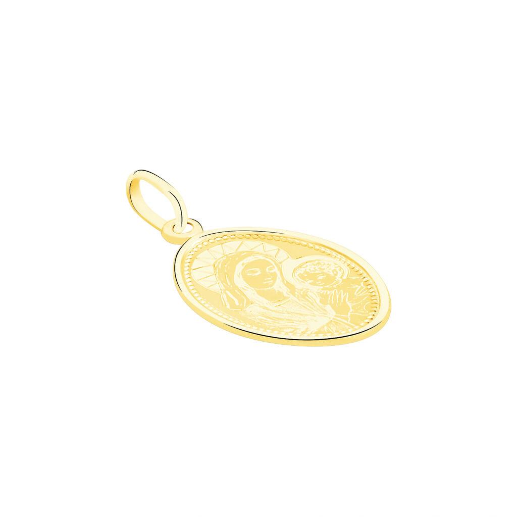 Pendentif Vierge A L'enfant Ovale Or Jaune - Bijoux Vierge Famille   Histoire d'Or