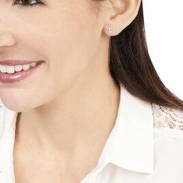 Boucles D'oreilles Puces Youssa Barrettes Or Blanc Oxyde De Zirconium - Clous d'oreilles Femme | Histoire d'Or