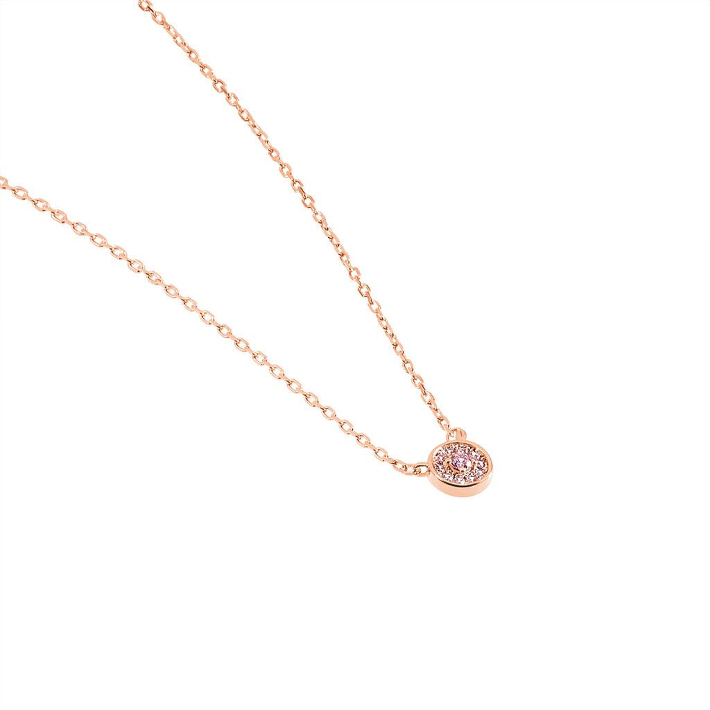 Collier Auxana Argent Rose Oxyde De Zirconium - Colliers fantaisie Femme   Histoire d'Or