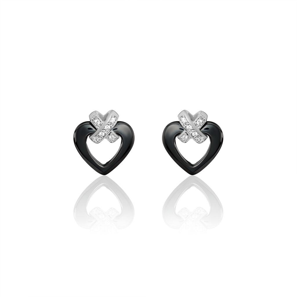 Boucles D'oreilles Puces Nolwen Argent Céramique Oxyde De Zirconium - Boucles d'Oreilles Coeur Femme | Histoire d'Or