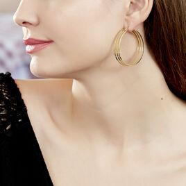 Créoles Adel Acier Jaune - Boucles d'oreilles créoles Femme | Histoire d'Or