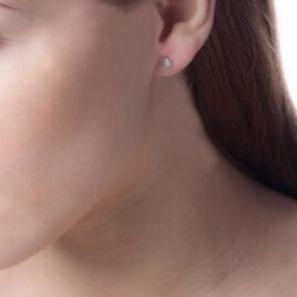 Boucles D'oreilles Puces Nevena Or Blanc Diamant - Clous d'oreilles Femme | Histoire d'Or
