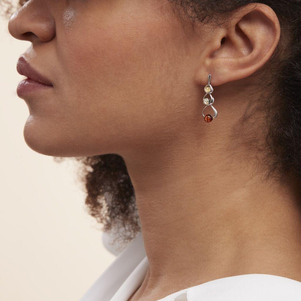 Boucles D'oreilles Pendantes Agneta Argent Blanc Ambre - Boucles d'oreilles fantaisie Femme   Histoire d'Or