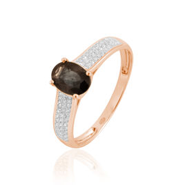 Bague Crista Or Rose Quartz Et Diamant - Bagues avec pierre Femme   Histoire d'Or