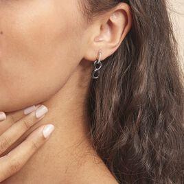Boucles D'oreilles Pendantes Celinia Argent Céramique Et Oxyde - Boucles d'Oreilles Infini Femme   Histoire d'Or
