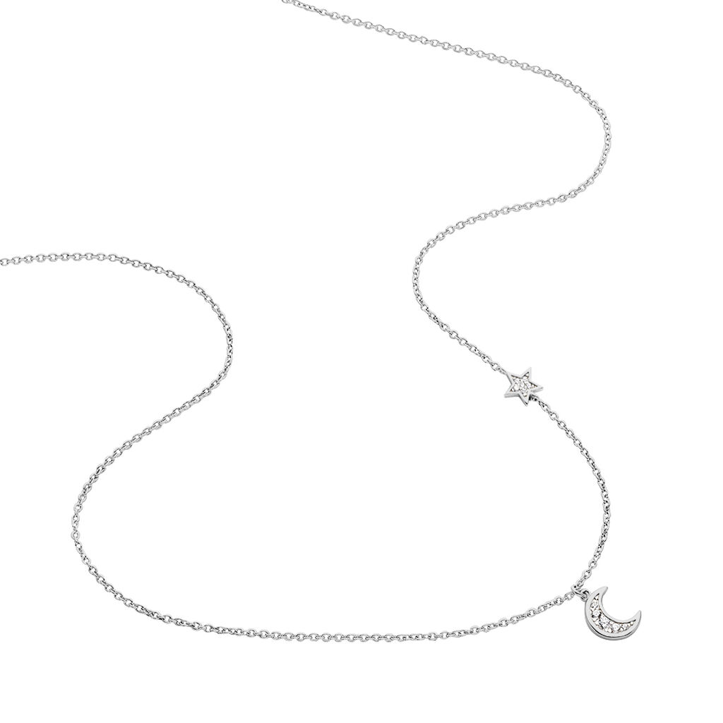 Collier Theoline Argent Blanc Oxyde De Zirconium - Colliers Etoile Femme   Histoire d'Or