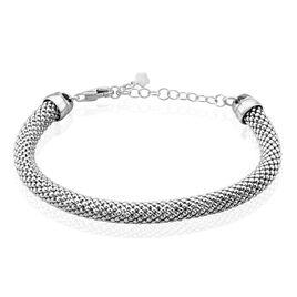 Bracelet Nahila Maille Popcorn Argent Blanc - Bracelets chaîne Femme   Histoire d'Or