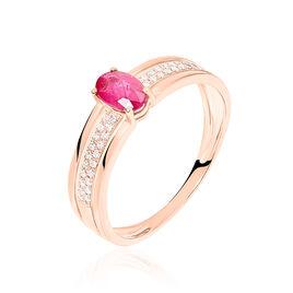Bague Enea Or Rose Rubis Et Diamant - Bagues avec pierre Femme   Histoire d'Or