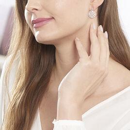 Boucles D'oreilles Pendantes Armandine Or Rose Oxyde De Zirconium - Boucles d'oreilles pendantes Femme | Histoire d'Or