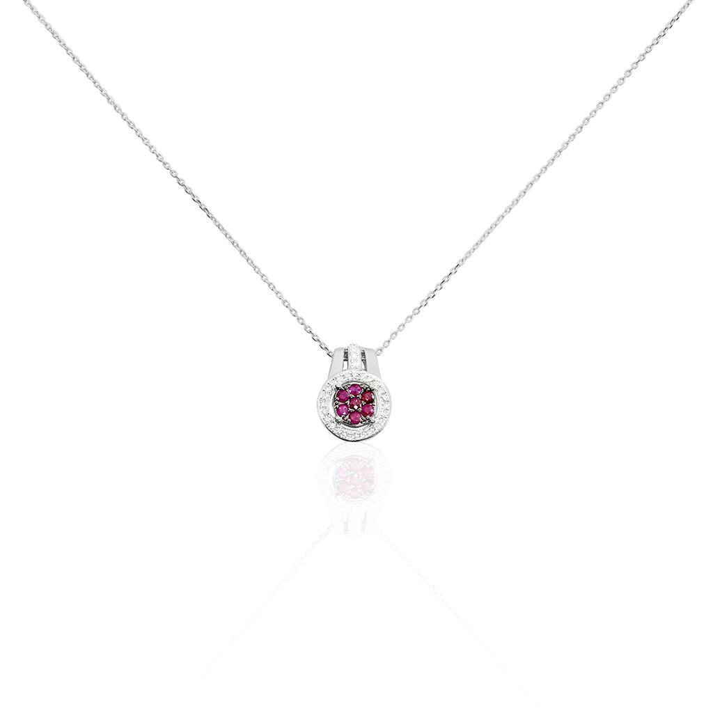 Collier Lise-laure Or Blanc Rubis Et Diamant