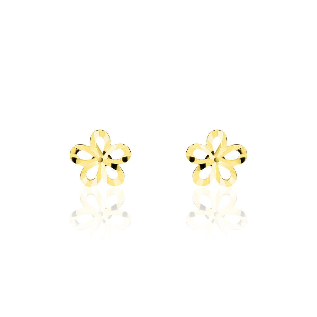 Boucles D'oreilles Puces Philine Fleur Or Jaune - Clous d'oreilles Femme | Histoire d'Or