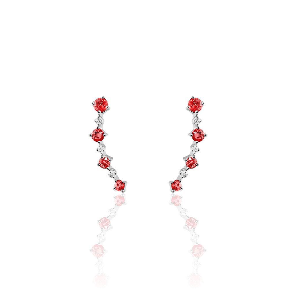 Boucles D'oreilles Puces Or Blanc Rubis Et Diamant - Clous d'oreilles Femme | Histoire d'Or