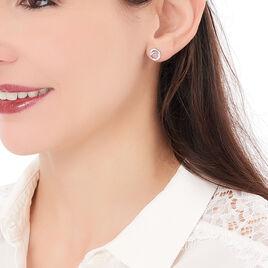 Boucles D'oreilles Puces Annea Argent Blanc Oxyde De Zirconium - Boucles d'oreilles fantaisie Femme   Histoire d'Or