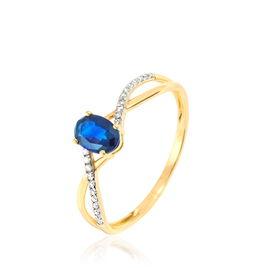 Bague Nicole Or Jaune Saphir Et Diamant - Bagues avec pierre Femme | Histoire d'Or